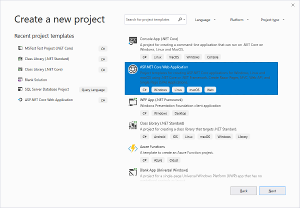 Creating a New ASP NET Core Project – JasonBentley net Blog